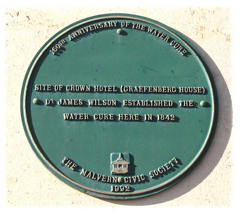Plaque on Lloyds RSB building commemorating the Water Cure