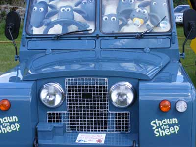 Series II Land Rover dressed up to entertain children