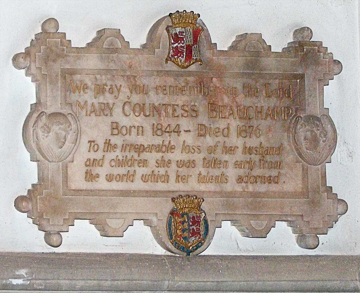 Plaque in memory of Mary Countess Beauchamp