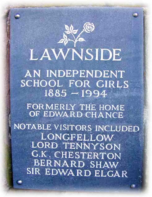 Plaque on wall by entrance to Lawnside