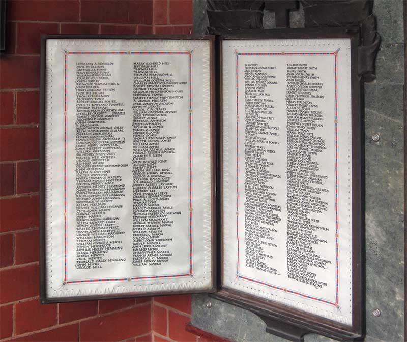 Panels 2 and 3 of Malvern memorial