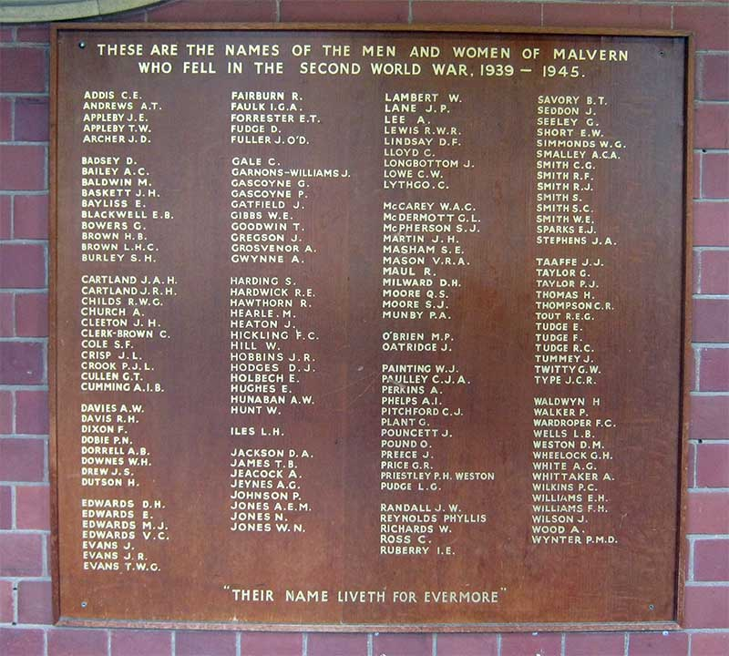 Memorial to the men of Malvern who died in WWII