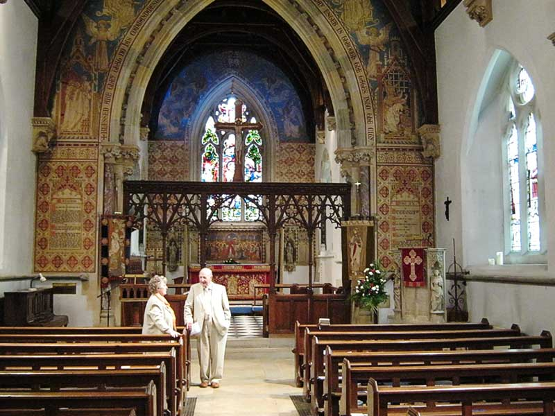 Looking towards the altar at Madresfield church 2012