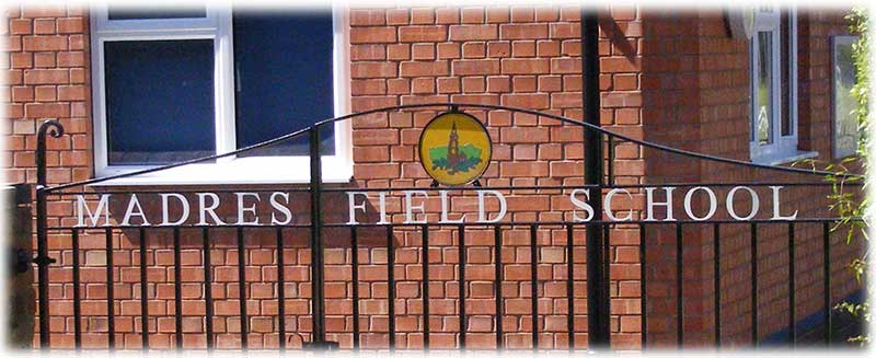 Madresfield school sign