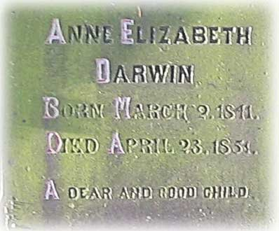 Inscription on Anne Darwin's grave