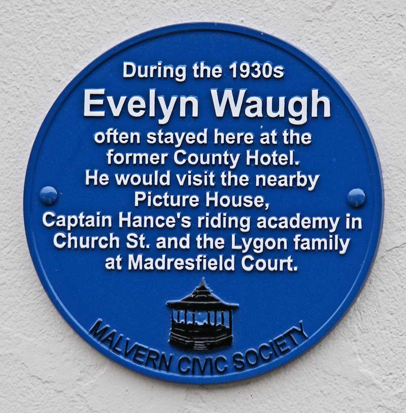 Plaque about visitor Evelyn Waugh