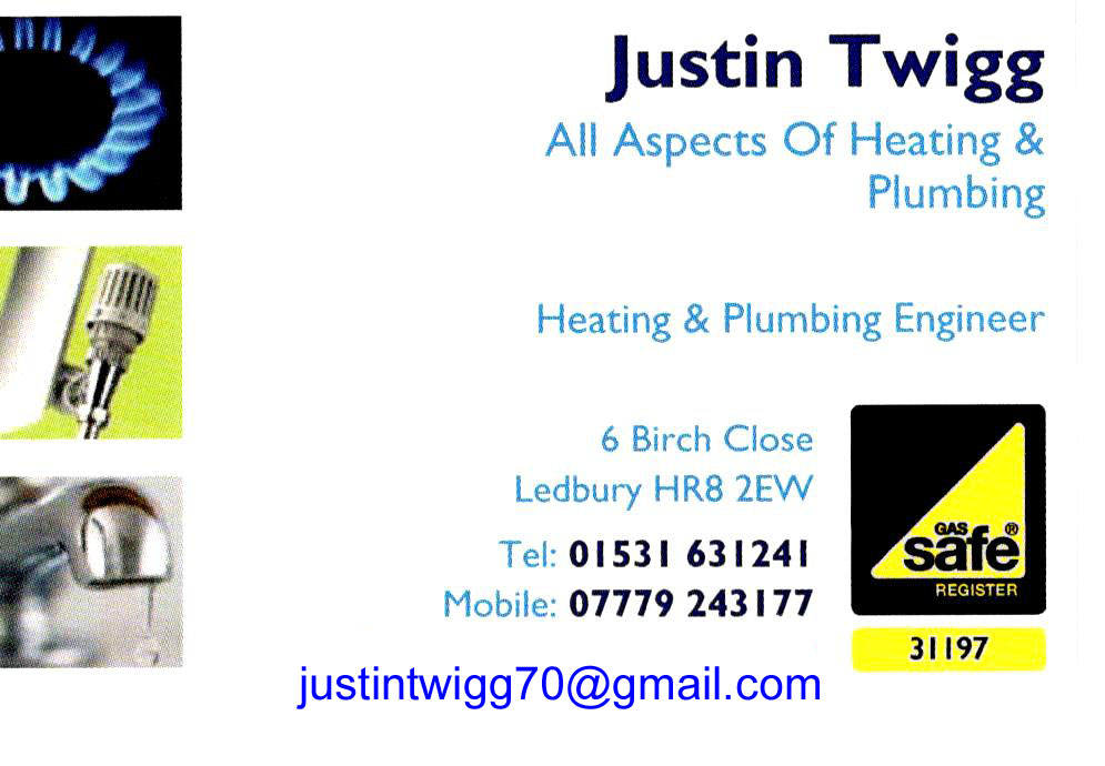 Advert for plumber, Justin Twigg