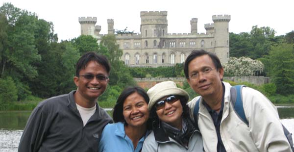 Our Malaysian family visiting Eastnor castle